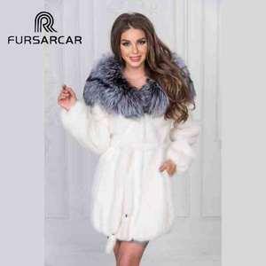 FURSARCAR Mink-Fur-Coat Jackets Silver Natural White Women Fox-Fur Big-Collar Winter