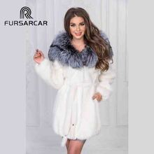 FURSARCAR 2018 New Arrival Full Pelt Natural Mink Fur Coat Women With Silver Fox Fur Inside Hood Genuine Mink Fur Female Coat
