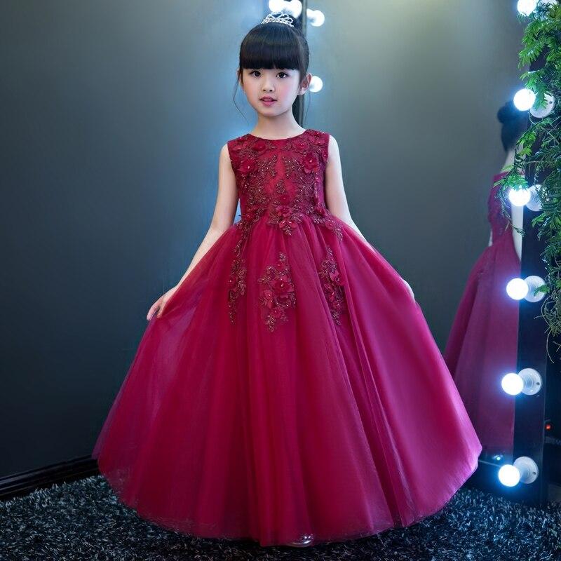 Здесь продается  Girls Party Dress Kids 2017 Flower Lace Children Girls Elegant Ceremonies Wedding Birthday Dresses Teenager Prom Gowns Size 3-15  Детские товары