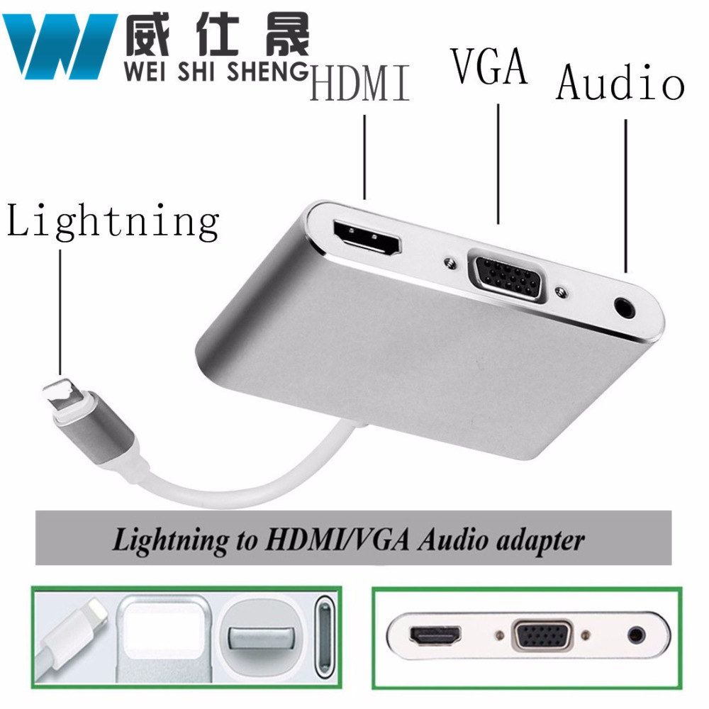 2017 Newest Lightning iOS 10 To HDMI VGA Audio Headpone Adapter Play Music with Charging Cable