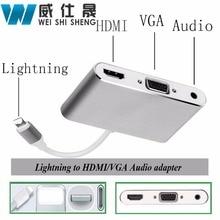 2017 neueste Blitz iOS 10 Zu HDMI VGA Audio Headpone Adapter Spielen Musik mit Ladekabel Adapter für 5 s/6/6 s/7 ipad