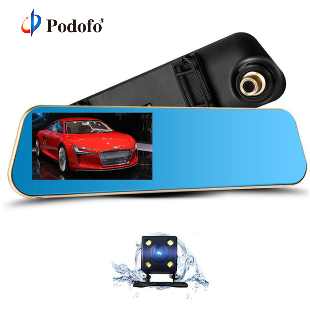 Podofo Car Dvr Auto Digital Video Recorder Rear View Mirror With Camera FHD 1080P Dashcam Dual Lens Parking Monitor Registrator