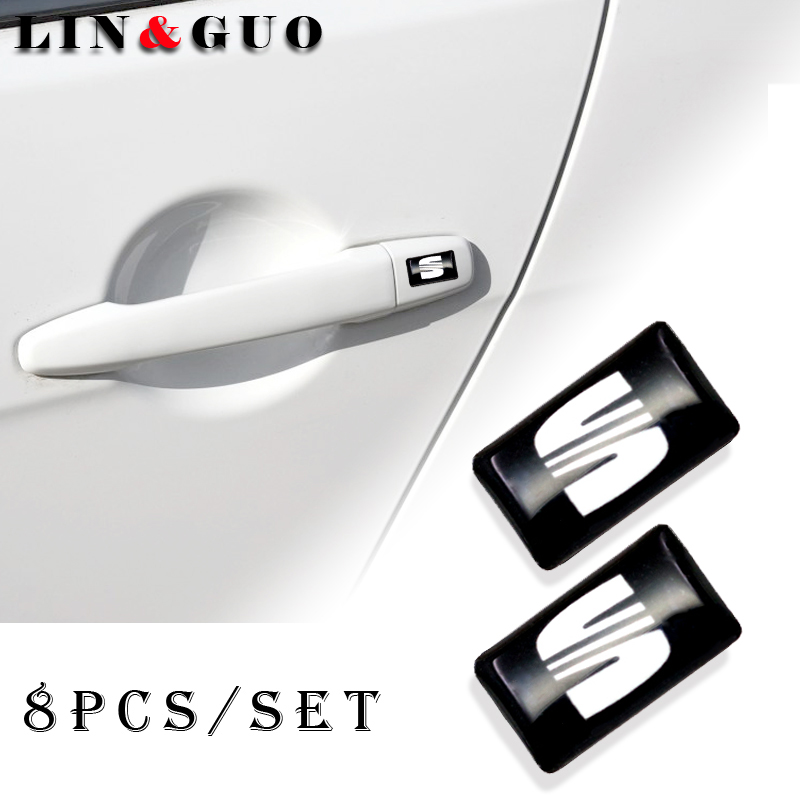 8pcs Car Styling Steering Wheel 3D Small Emblem Sticker Wheel Decal Fit For Seat Leon Ibiza Cupra Altea Belt Racing Car Sticker