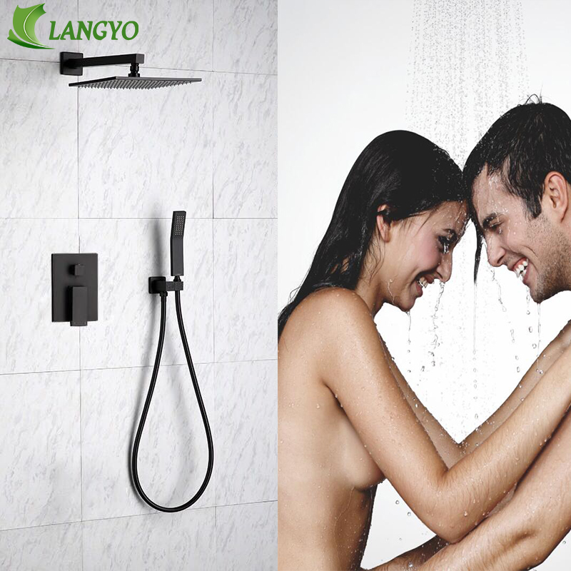 LANGYO Brass Black Bathroom Shower Set 8