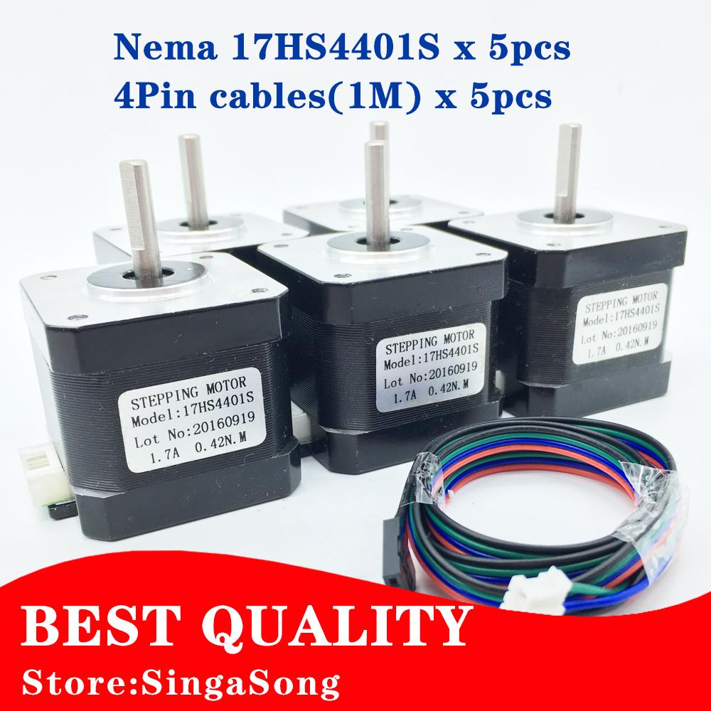 Prix pour 5 pcs/lot. livraison Gratuite 3D imprimante 4-plomb Nema17 Moteur pas à pas 42 moteur Nema 17 moteur 42 BYGH 1.7A (17HS4401S) moteur pour CNC XYZ