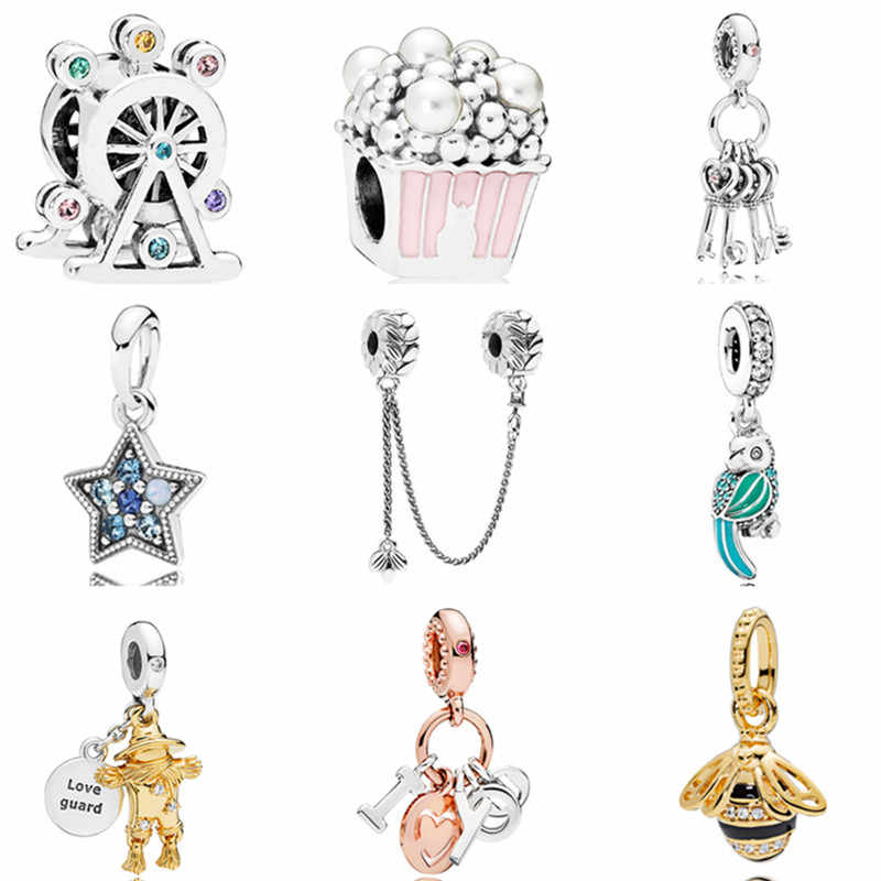 Hot Fashion Crystal Ferris Wheel Popcorn Parrot Bee Safety Chain Charm Beads Fit Pandora Bracelets Necklaces Women DIY Jewelry