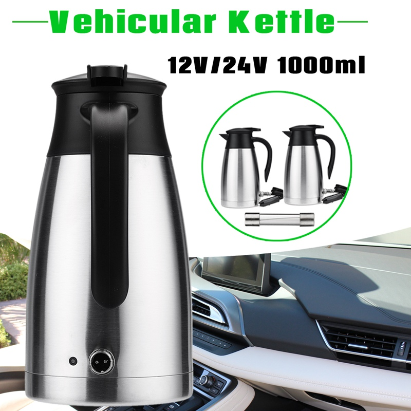 Autoleader 1000ml Car Electric Kettle 12/24V Portable Stainless Steel Camping Travel Universal Hot Water Coffee Tea Heated Mug