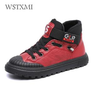 Image 2 - New Autumn Winter Boys Boots Kids Shoes for Children Sneakers Genuine Leather Girls Fashion Ankle Martin Boot Plush Warm Running