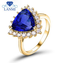 Real 14K Yellow Gold Trillion 9x9mm Genuine Tanzanite Diamond Annversary Ring for Wife Christmas Loving Jewelry Gift SR291A