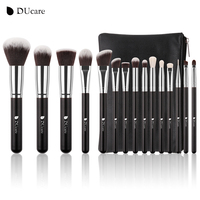 DUcare 15Pcs Makeup Brushes Set Goat Hair Synthetic Hair Make Up Brush Professional Cosmetics Kit With
