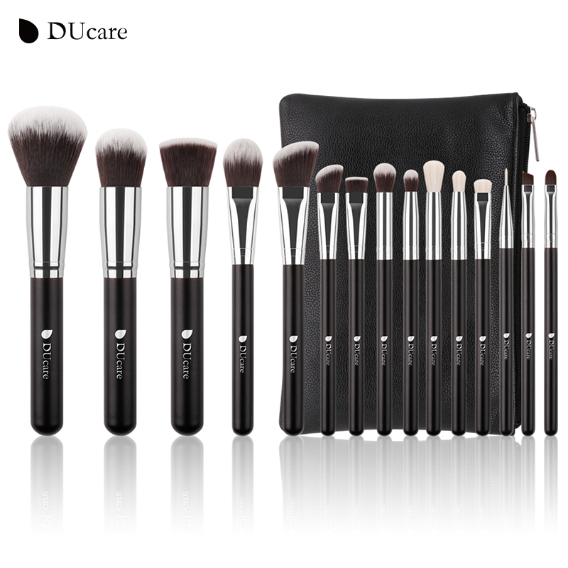 DUcare 15Pcs Makeup Brushes Set Goat Hair Synthetic Hair Make Up Brush Professional Cosmetics Kit with Bag 23 pieces professional versatile portable makeup brush set cosmetics brushes kit make up maquillaje with grass green pouch bag