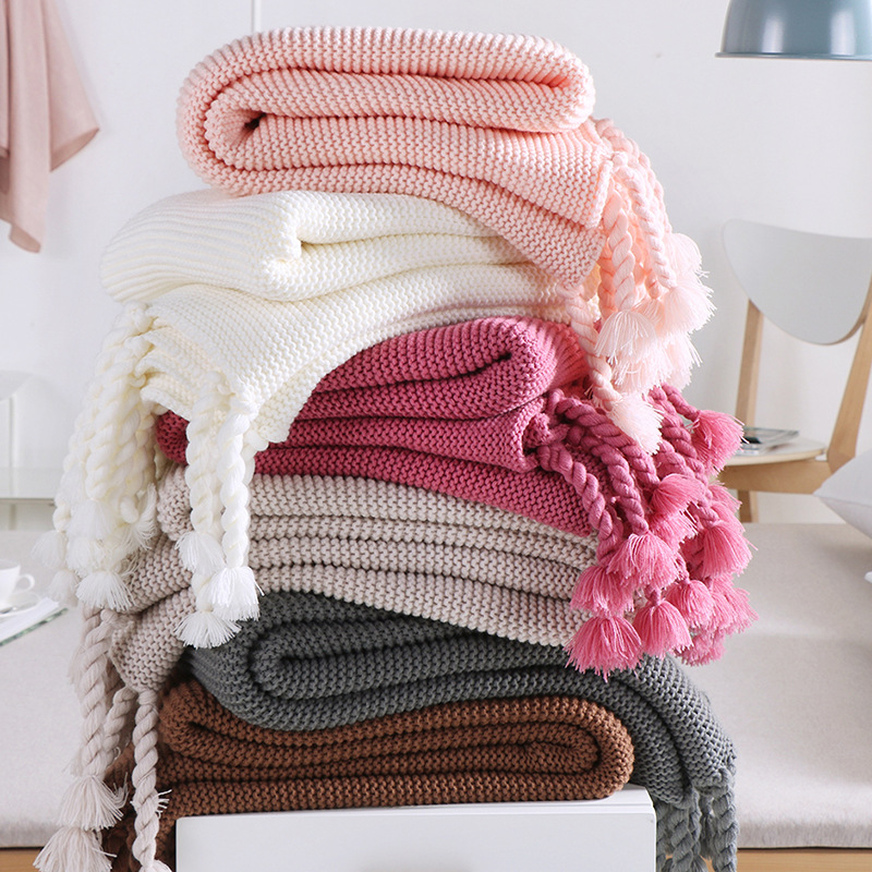 Scandinavian Knitted Acrylic Kids Baby Infant Blanket Bed Throw Blanket With Tassels Rug Mat Nursery Room Decor gloomy night throw tapestry wall blanket
