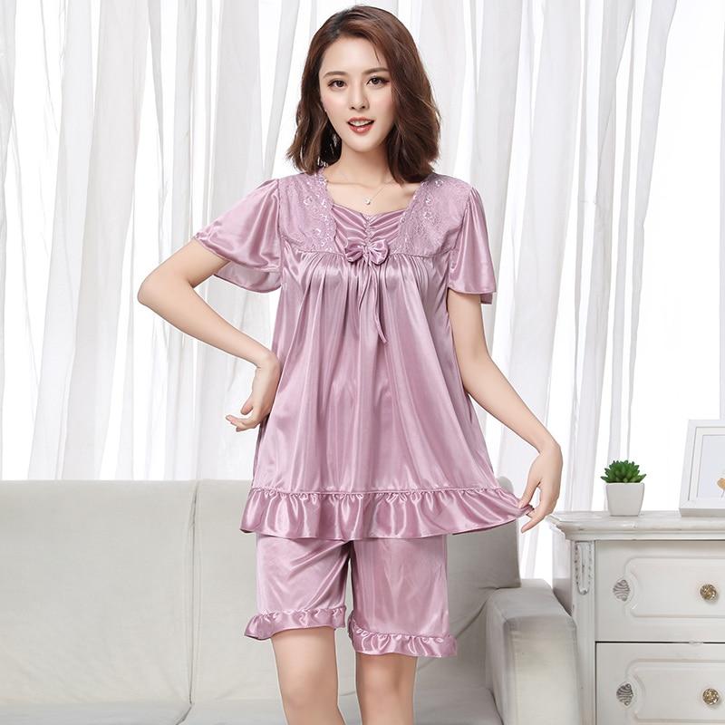 Sexy Short Sleeve V-Neck Casual Slim Solid Women Lingerie Silk Women Pajamas Set Home Clothing