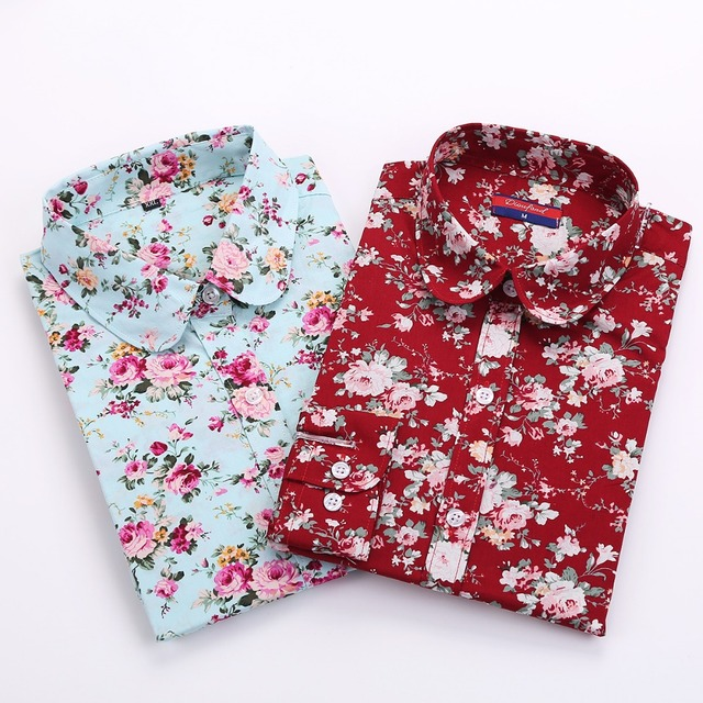 Women Floral Long Sleeved Shirts 21 Colors
