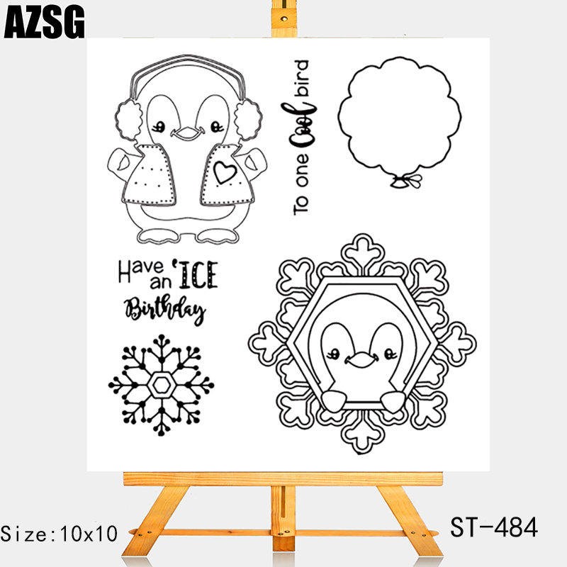 AZSG Snowflake Balloon Penguin Clear Stamps For DIY Scrapbooking/Card Making/Album Decorative Silicone Stamp Crafts