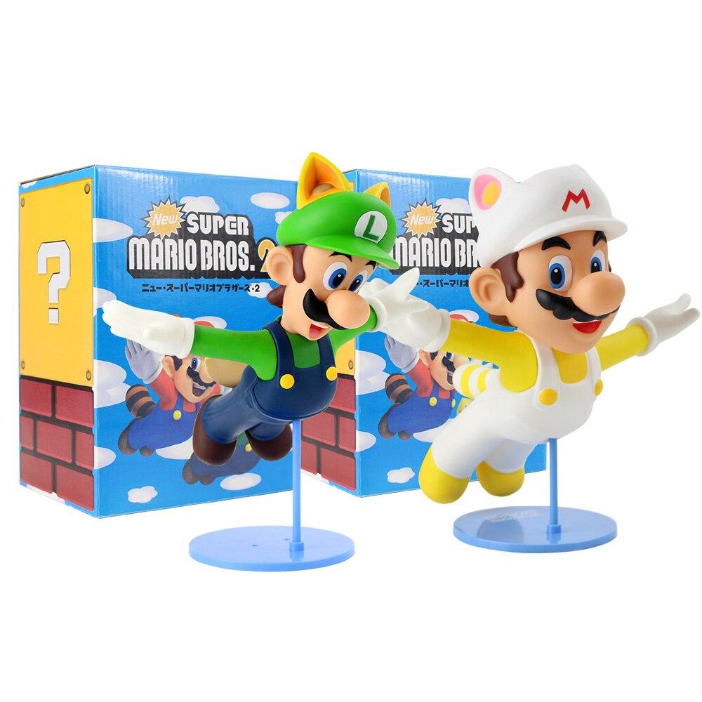 22Cm Hot Game Vliegende Luigi Witte Hoed Beeldje Pvc Figuur Speelgoed Voor Kinderen Verjaardagscadeau