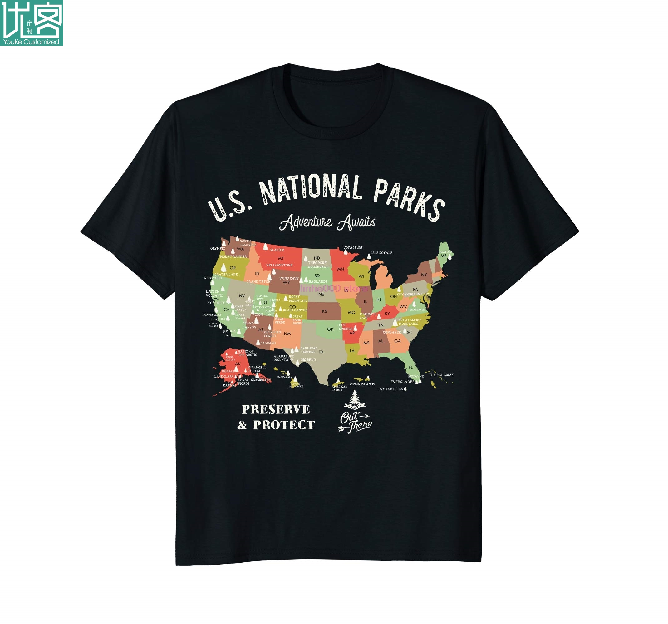 brand men shirt Cool U.S National Parks Map T-Shirt Vintage Hiking Camping TShirt image