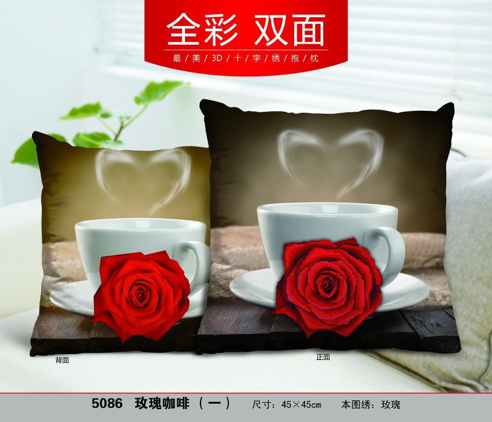 Rose Coffee Love 3D Style DIY Needlework Cross stitch Kit Embroidery Pillow Case Cover Cross Stitch Pillowcase free shipping-in Package from Home \u0026 Garden ... & Rose Coffee Love 3D Style DIY Needlework Cross stitch Kit ... pillowsntoast.com