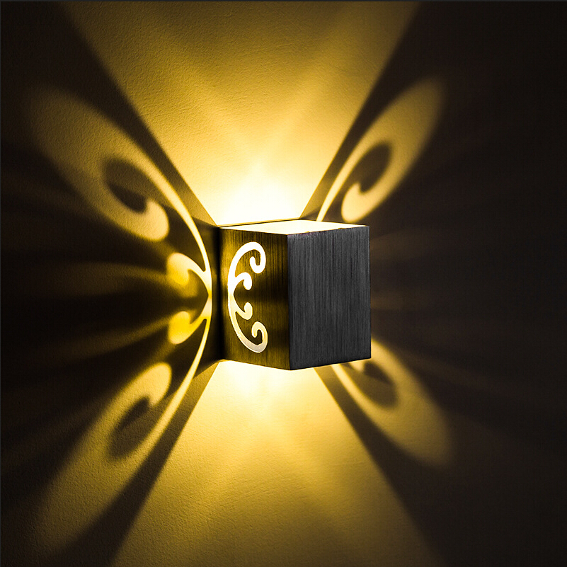 Modern Living Room LED Wall lamps Aluminum Butterfly Wall Light 3W RGB KTV Decoration Wall lights Home Lighting