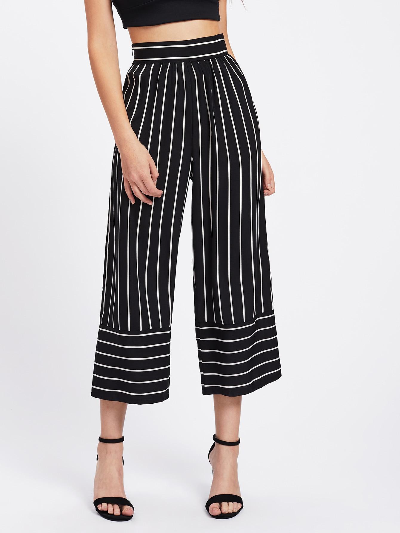 New Wide Leg Pants Women Stripes Pant High Waist Loose
