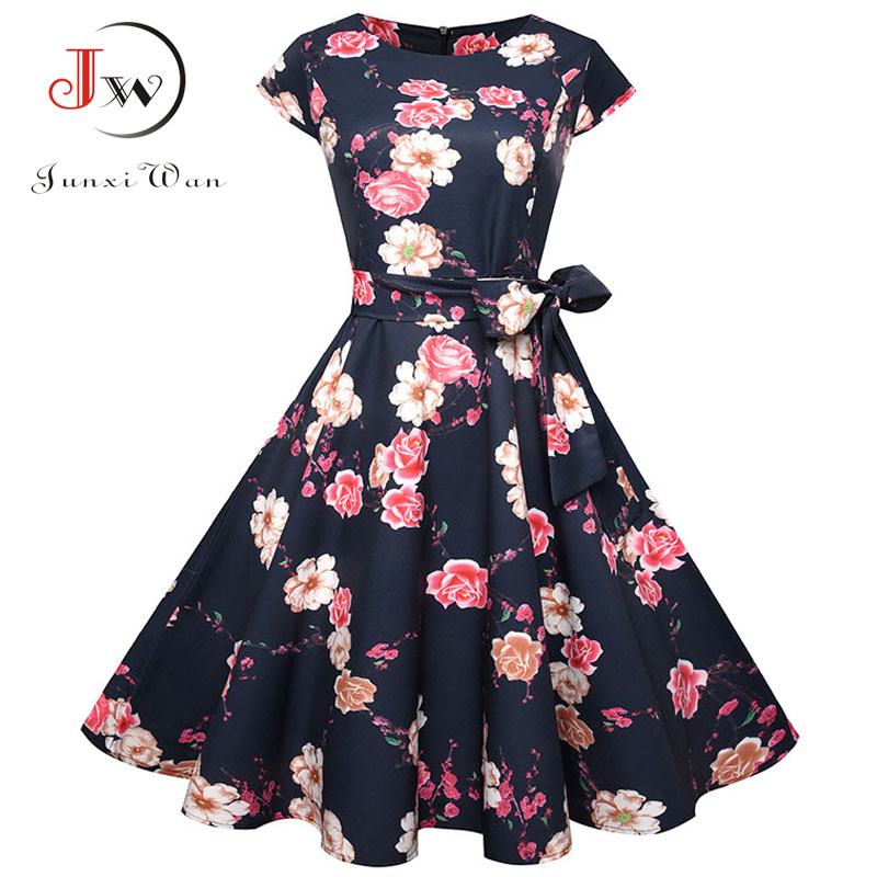 Summer Dress 2018 Women Short Sleeve Casual O-Neck Vintage Floral Dresses 50s 60s Retro Rockabilly Party Plus Size Vestidos 5