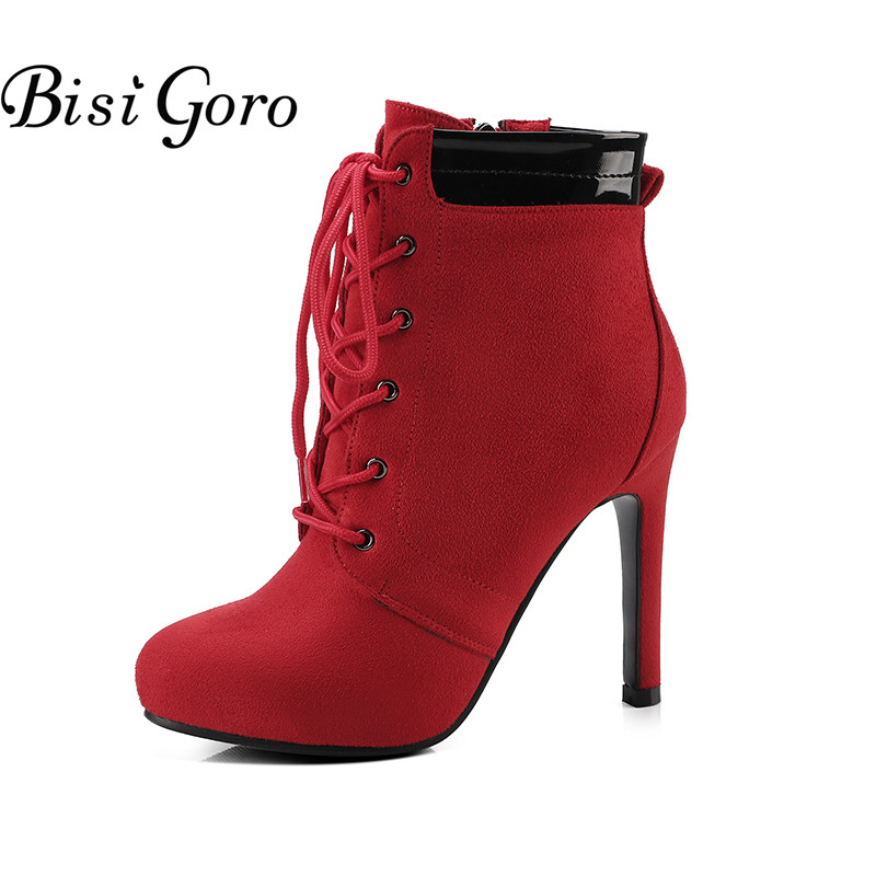 BISI GORO 2017 Lace Up Ankle Boots Women Autumn Shoes Platform High Heel Boots Female Red Black Boots Heels Women Plus Size new spring autumn women boots black high heels thick heel boots lace up platform ankle boots large size 34 43