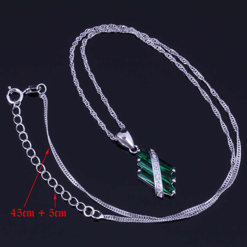 Dazzling Grün Zirkonia Weiß CZ 925 Sterling Silber Schmuck Sets Für Frauen Ohrringe Anhänger Kette Ring V0971