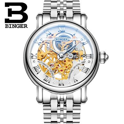 Man Brand Binger hollow mechanical Wristwatch fashion Casual waterproof dress watch leather strap men sports watches top brand binger fashion casual watch female form hollow automatic mechanical watches self winding women waterproof leather
