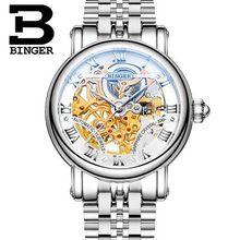 Человек Бренд Binger полые механические Наручные Часы мода Повседневная водонепроницаемый платье часы кожаный ремешок мужчин спортивные часы