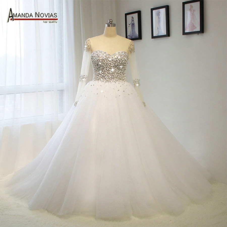 Luxury Full Glass Beading Handmade Sew Crystal Wedding Dress Real Photos