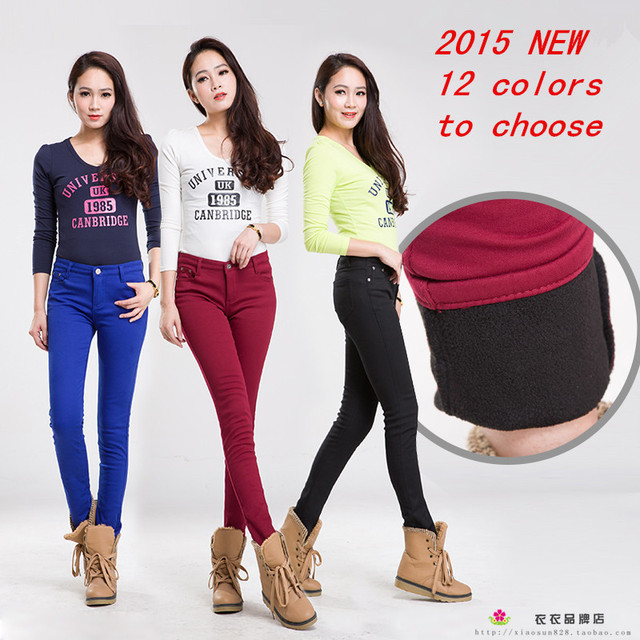 2015 Autumn Winter Jeans for Women Skinny Pencil Style Warm Many Colored Jeans