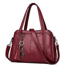 Soft Leather Handbags Tassel Fox Charms Weave Handbag Single Shoulder Bag for Women Casual Tote Bags Ladies Large Capacity