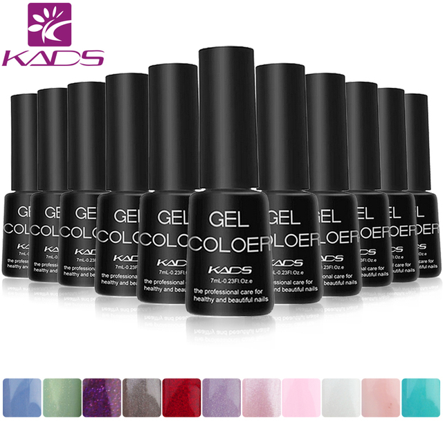 KADS 6pcs/set 31 Colors 7ml Soak Off UV Gel Nail Gel Polish Cosmetics Nail Art Manicure Nails Gel Professional Kit UV LED Lamp