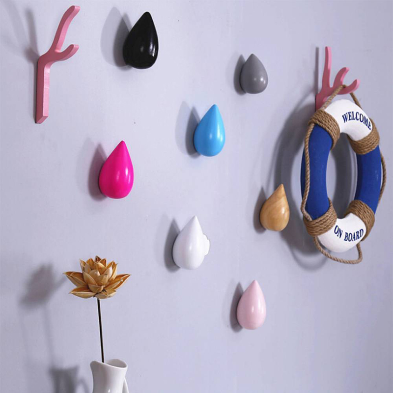 Image 2 - 1 Pcs Wood Wall Hanger Water Drop Shaped Hook Door Back Hanger Key Holder Decorative Hooks Bag Handbag Hat Clothes Wooden Hook-in Hooks & Rails from Home & Garden