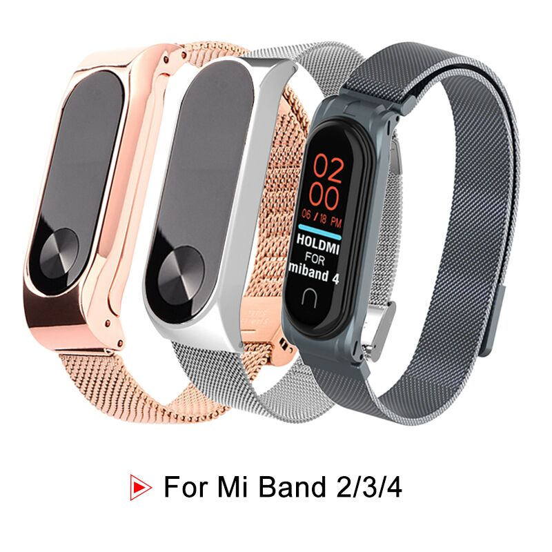 Stainless Steel For Mi Band Xiaomi 2 Strap Wristband Smart Leather Wrist Watch Strap For Xiaomi Mi Band 3/4 Bracelet Accessories