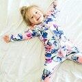 2017 Do Bebê Da Menina do Menino Macacão Floral Criança Zíper de Manga Comprida Macacão Roupa Infantil Bebe Pijama Animais Dots Romper Puro Algodão