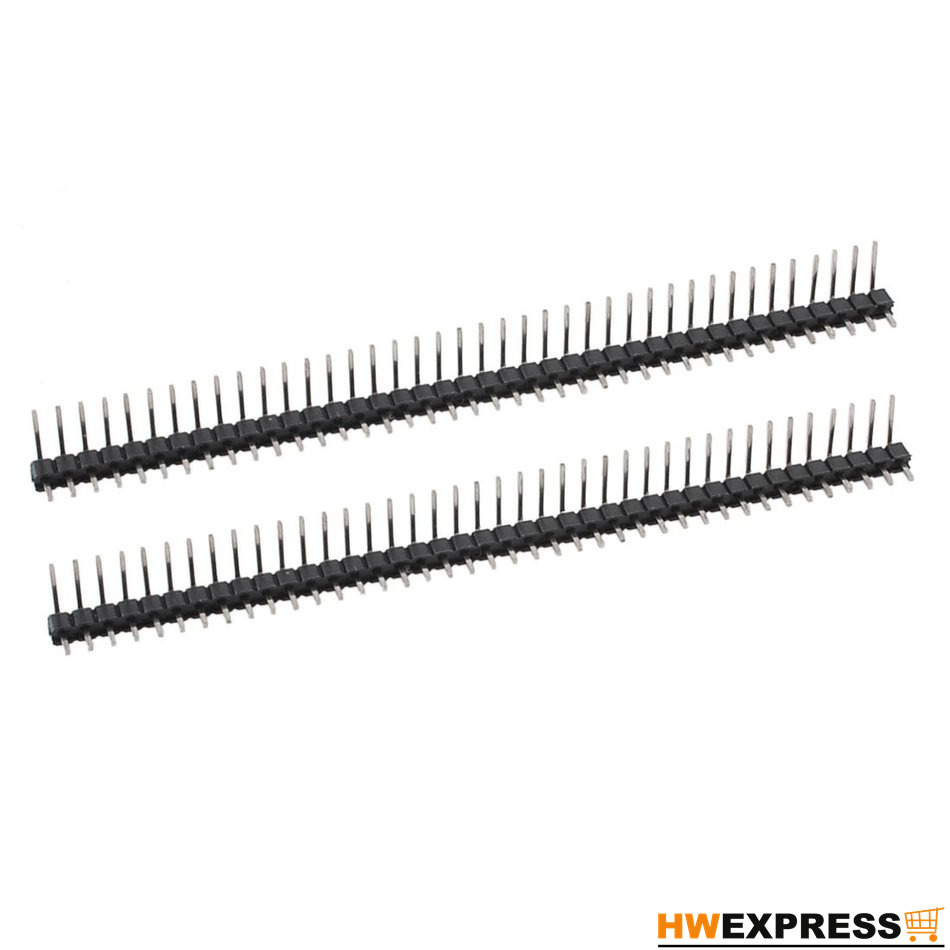 HWEXPRESS Hot 2Pcs 40 Position 2.54mm Pitch Single Row Right Angle Male Pin Header