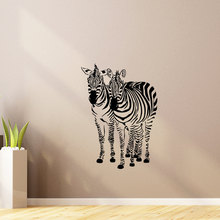 Two Zebra Walking Together Pattern Wall Mural Art Designed Home Rooms Decorative Wall Stickers Zebra Silhouettes Wallpaper W-710 stylish zebra and sea mew pattern removeable wall stickers