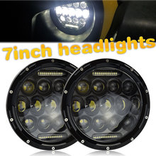 1x 75W 7'' Led Headlight H4 H13 High Low Beam Round Cars Running Lights for Jeep Lada Niva 4x4 4WD Motorcycle Driving Offroad цена 2017