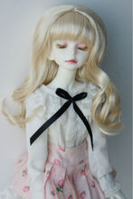 JD298  1/4(18-20CM) Synthetic mohair doll wigs  7-8inch MSD Long wave full bangs BJD hair
