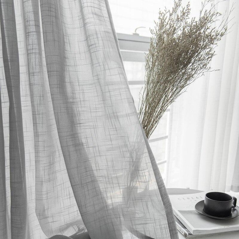Cinza linho de algodão tule cortinas cortina decorativa moderna branca pura cortina para o quarto