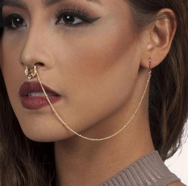 Christmas Fake Septum Ring Nose To Ear Ring Septum Gold Septum Ring