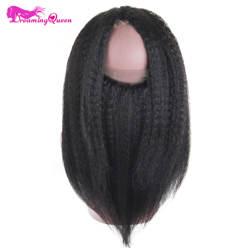 Dreaming Queen Hair Pre Plucked Kinky Straight Hair 360 Lace Frontal Closure Brazilian Remy Hair Frontal With Baby Hair