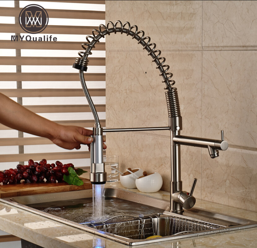 Nickel Brushed LED Swivel Spout Spring Kitchen Faucet Dual Sprayer Vessel Sink Mixer Tap golden brass kitchen faucet dual handles vessel sink mixer tap swivel spout w pure water tap