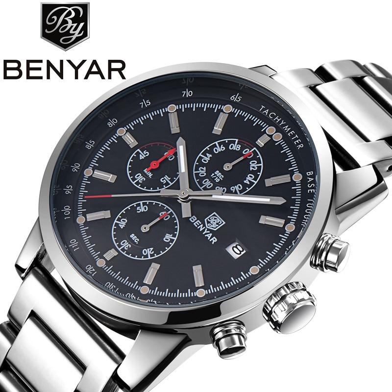 Benyar Hot Mens საათები სამხედრო არმიის ყველაზე ბრენდის ძვირადღირებული სპორტული შემთხვევითი წყალგაუმტარი მამაკაცები Watch Quartz უჟანგავი ფოლადის კაცი Wristwatch