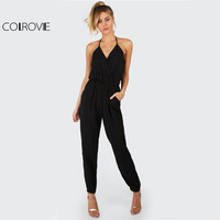 COLROVIE Elegant Black Halter Jumpsuit Surplice Casual Women Self Tie V Neck Jumpsuits 2017 Fashion Hot