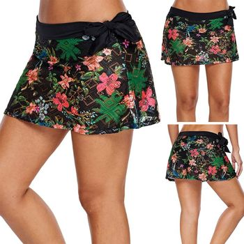 Womens Summer Plus Size Swim Skirt Geometric Hollow Out Lace Bikini Bottoms Floral Printed Lace Up Bowknot Waistband Swimsuit