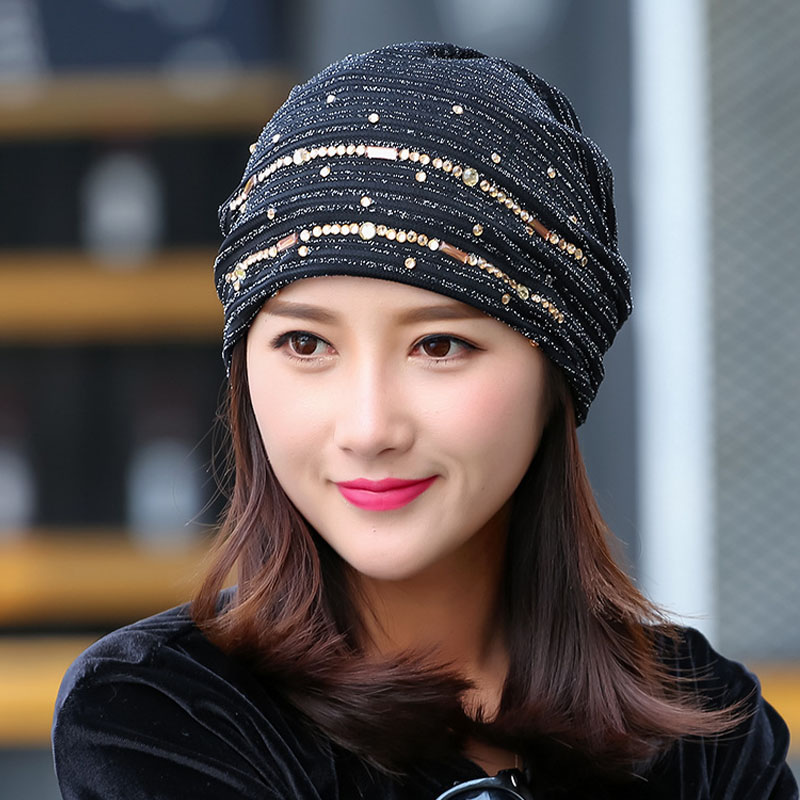 Winter Women Hedging Skullies Beanies Knitting Caps Bonnet Double Layer Cotton Knitted Hat Lace Cap skullies