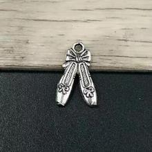 100 шт-20*12 мм балетные туфли амулеты античное серебро танцевальные подвески для обуви ожерелья и ювелирные браслеты аксессуары
