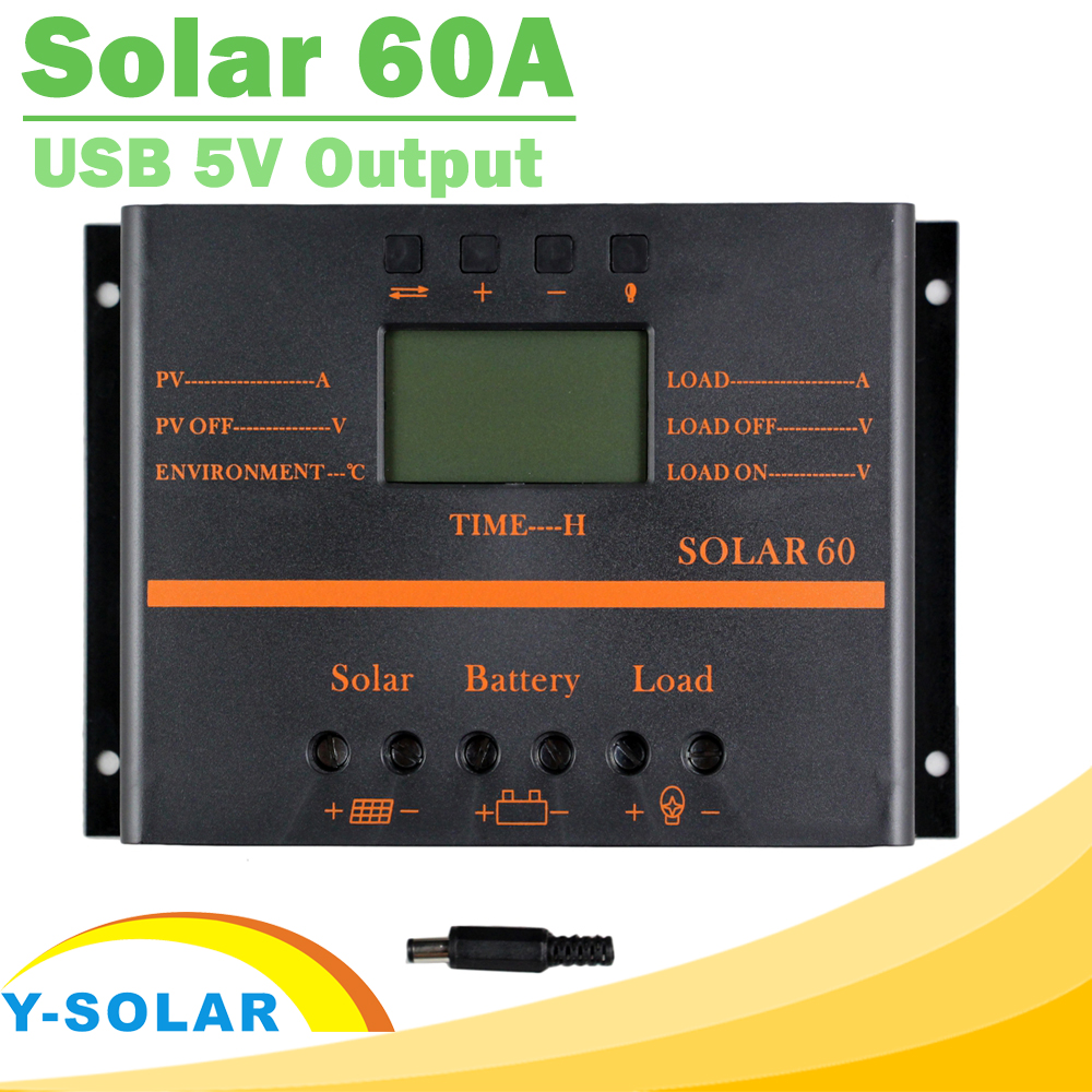 Solar Charge Controller PWM 60A 12V 24V LCD Regulator for Max 50V Input Solar60 Light and